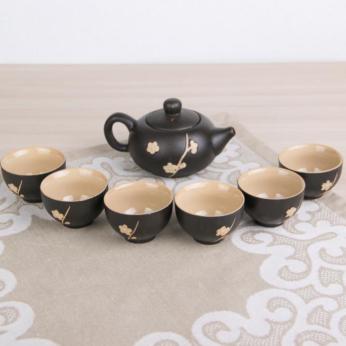 """Набор для чайной церемонии """"Цветок"""", 7 предметов: чайник 260 мл, чашка 80 мл d=6 см"""