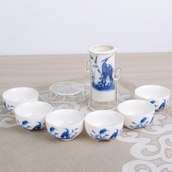 """Набор для чайной церемонии 7 предметов """"Журавли"""" чайник, чашка d=6 см"""