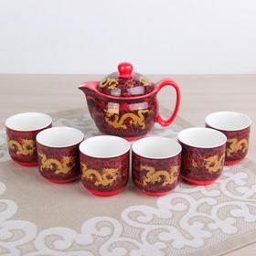 Набор для чайной церемонии «Дракон», 7 предметов: чайник 300 мл, чашки 100 мл, цвет красный