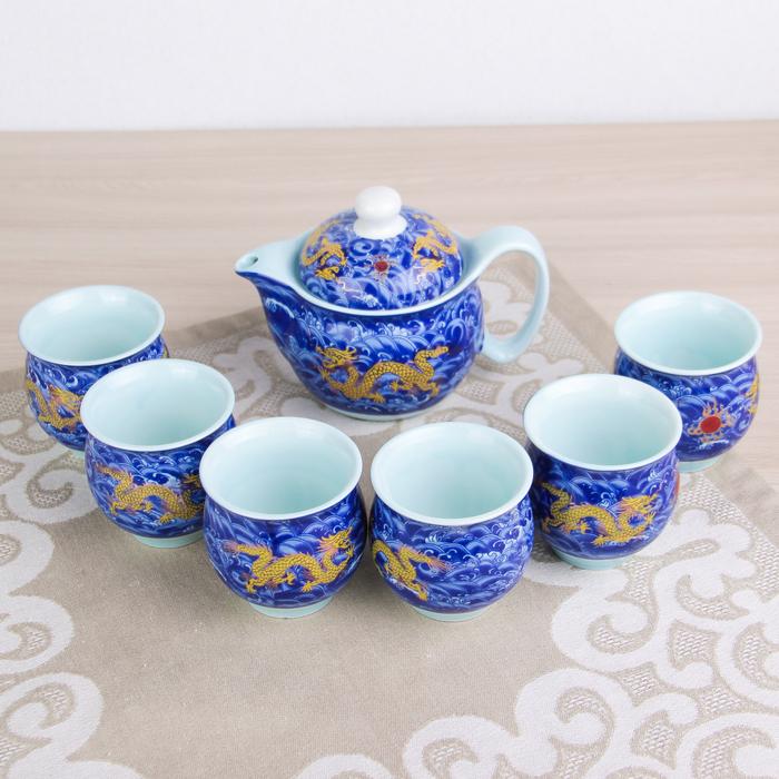 Набор для чайной церемонии «Дракон», 7 предметов: чайник 350 мл, чашки 80 мл, d=6 см, цвет синий