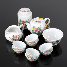 """Набор для чайной церемонии """"Птица на сакуре"""",12 предметов: чайник, чашка, гайвань, баночка"""