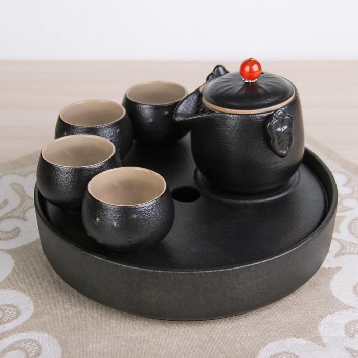 """Набор для чайной церемонии 6 предметов """"Ночь"""" чайник, 4 чашки d=6 см, подставка"""