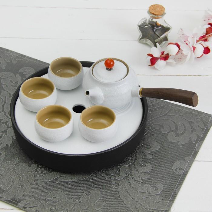 """Набор для чайной церемонии """"День"""", 6 предметов: чайник, 4 чашки d=6 см, подставка"""