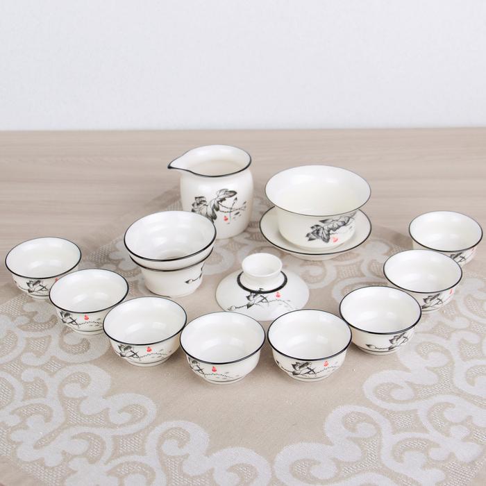 """Набор для чайной церемонии""""Цветение лотоса"""", 11 предметов: заварочная чаша, 8 чашек, чахай, гайвань"""