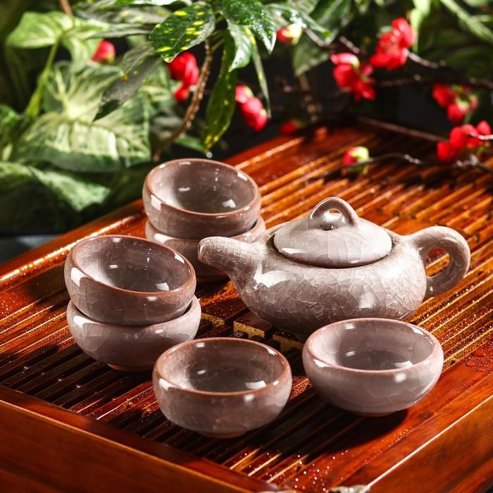 """Набор для чайной церемонии """"Лунный камень"""", 7 предметов: чайник 150 мл, 6 пиал 50 мл"""