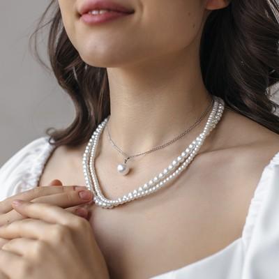 "Beads 3 tiers ""Rochelle"" drop, white silver, 40cm"