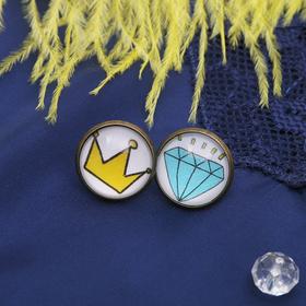 Серьги из стекла Candy корона и алмаз, цвет жёлто-голубой в чернёном золоте Ош
