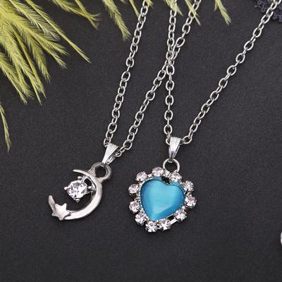 """Кулон """"Двойной"""" сердце и месяц, цвет бело-голубой в серебре, 40 см"""
