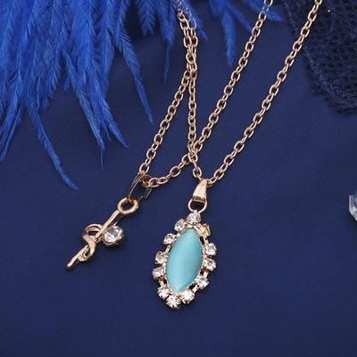 """Кулон """"Двойной"""" эллипс, цвет бело-голубой в золоте, 40 см"""