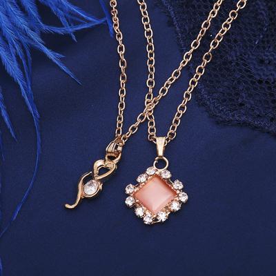 """Кулон """"Двойной"""" ромбик, цвет бело-розовый в золоте, 40 см"""