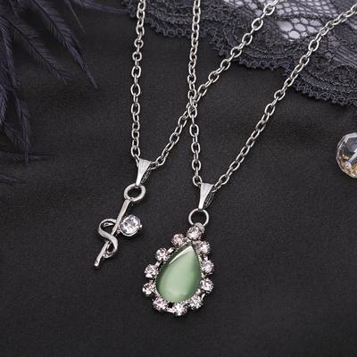 """Кулон """"Двойной"""" капля, цвет бело-зелёный в серебре, 40 см"""