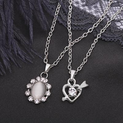 """Кулон """"Двойной"""" овал и сердце, цвет белый в серебре"""