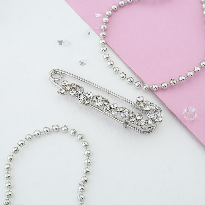 """Булавка """"Спираль"""", 7 см, цвет белый в серебре"""