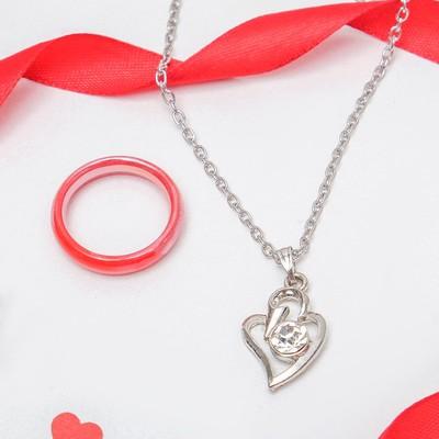 "Гарнитур 2 предмета: кулон, кольцо размер 17 ""Каролина"" сияние, цвет МИКС, 40см"