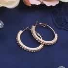 Серьги-кольца Princess дорожка малая, цвет белый в золоте, d=3 см - фото 7472028
