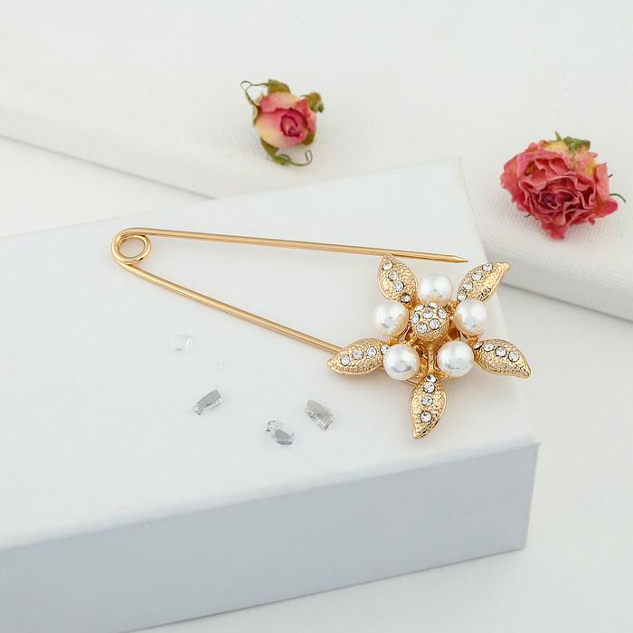 """Булавка """"Цветок жемчужный"""", 8,5 см, цвет белый в золоте - фото 419630433"""