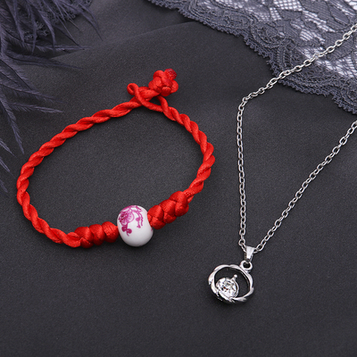 "Headsets 2-piece: pendant, bracelet ""Thread of wishes"" circle, color red and white in silver"