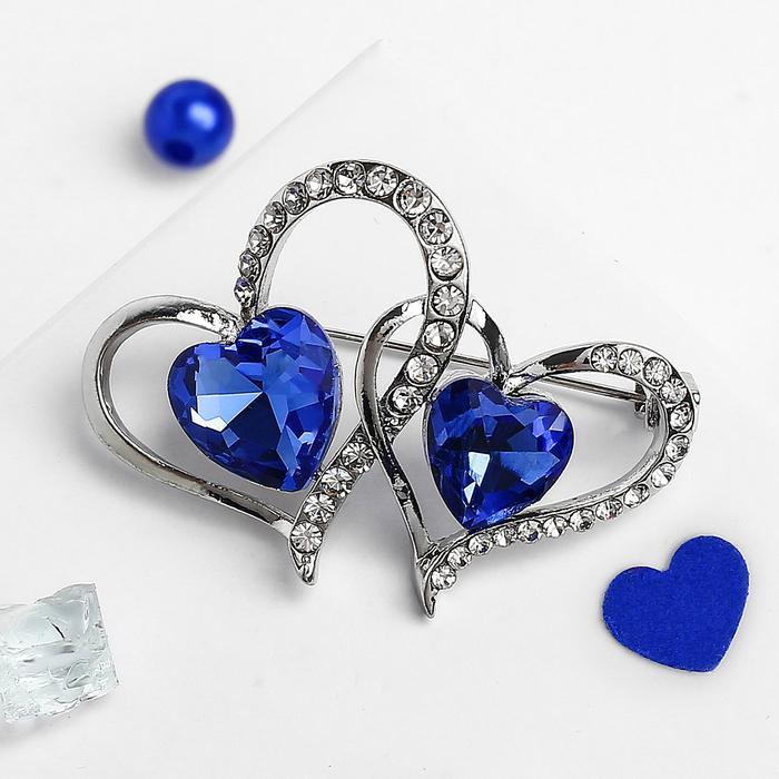 """Брошь """"Сердца влюбленных"""", цвет сине-белый в серебре"""