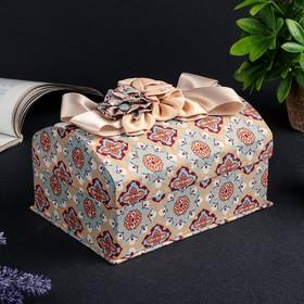"Шкатулка ткань для украшений ""Сундучок с пышным бантом"" 10,5х20х14,5 см"