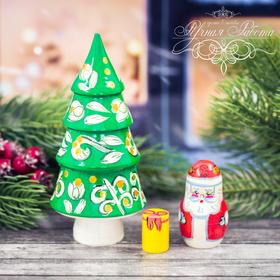 Матрёшка 3-х кукольная «Ёлка с Дедом Морозом», 11 см