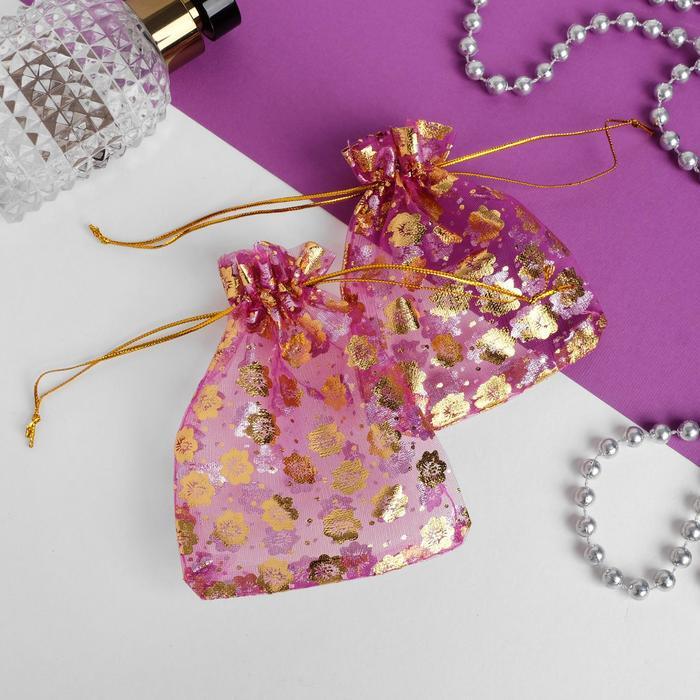Мешочек подарочный 9x11, цветочки, цвет малиновый с золотом