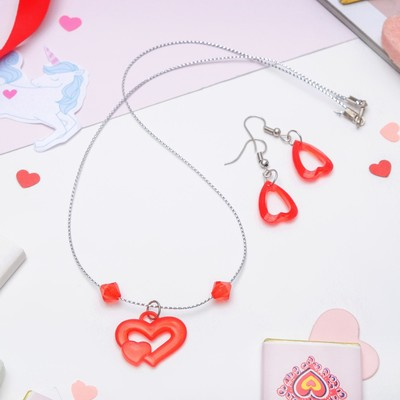 "Set ""Vibracula"" 2 items: earrings, pendant 45cm, heart, MIX color"