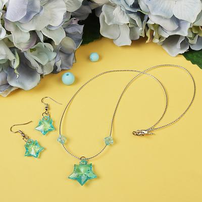 "Set ""Vibracula"" 2 items: earrings, pendant 45cm, stars, MIX color"