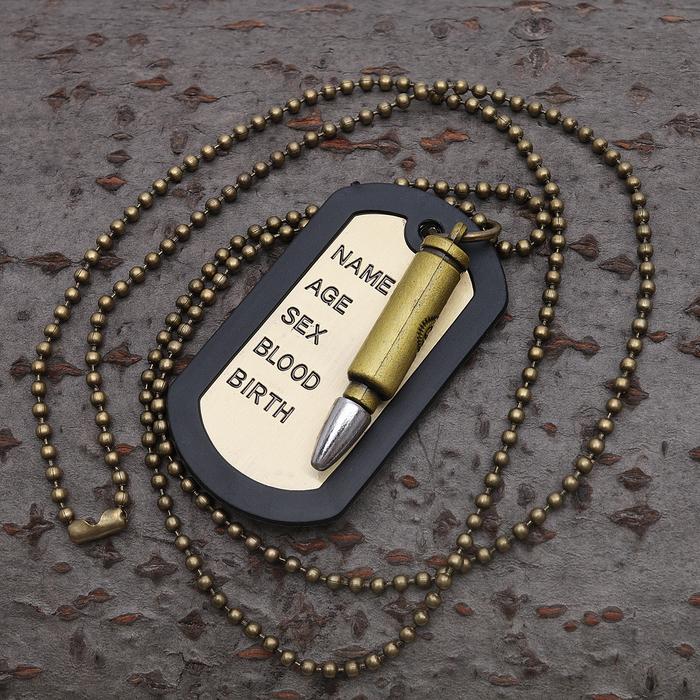 """Кулон унисекс """"Медальон"""" для гравировки, пуля, цвет медный, 45 см"""