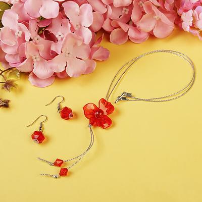 """Набор """"Выбражулька"""" 2 предмета: серьги, кулон 45 см, орхидея, цвет МИКС"""