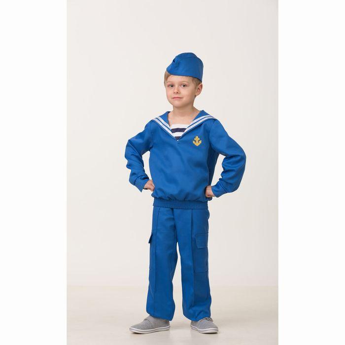 Карнавальный костюм «Матрос», (матроска, брюки, пилотка), размер 38, рост 152 см - фото 105522283