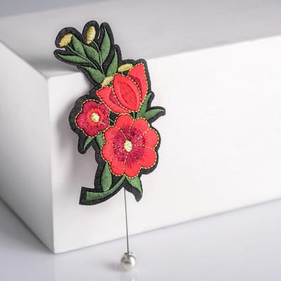 """Булавка """"Цветок"""" роуз, букет 12,8 см, цвет красно-черный"""