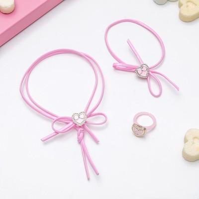 """Children set """"Vibracula"""" 3 items: necklace, bracelet, ring, heart, MIX color"""