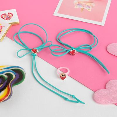 "Children set ""Vibracula"" 3 items: necklace, bracelet, ring, strawberry, MIX color"