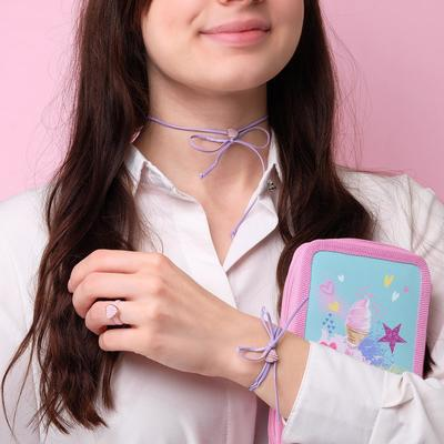 "Children set ""Vibracula"" 3 items: necklace, bracelet, ring, hearts, striped, MIX color"