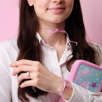 """Children set """"Vibracula"""" 3 items: necklace, bracelet, ring, bows, color MIX"""