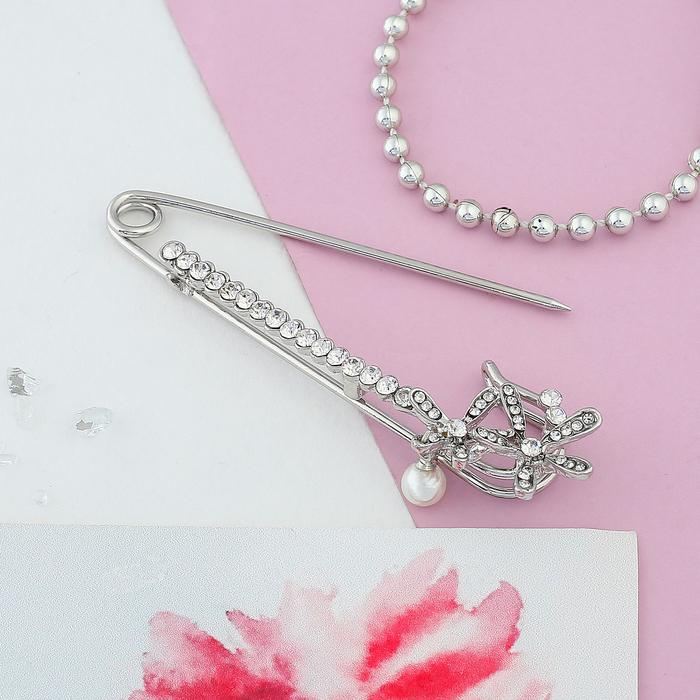 """Булавка """"Цветочки с жемчужиной"""", 7 см, цвет белый в серебре - фото 304248893"""