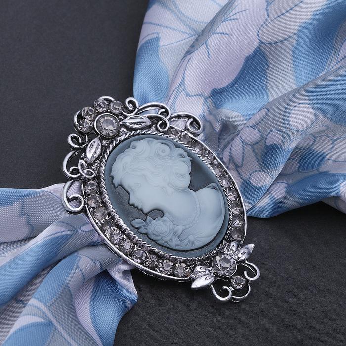 """Зажим для платка """"Камея"""", цвет серый в черненом серебре - фото 234156144"""