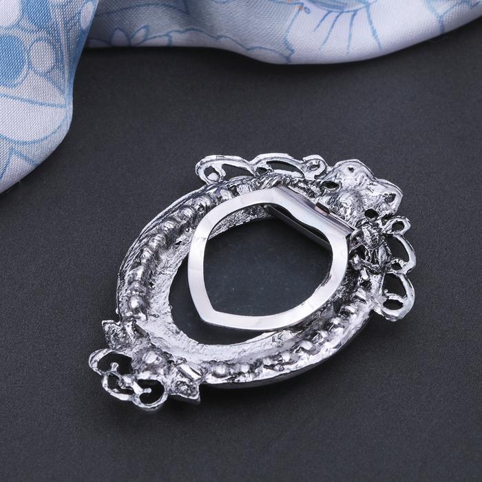 """Зажим для платка """"Камея"""", цвет серый в черненом серебре - фото 234156145"""