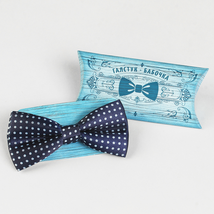 Галстук-бабочка, синяя в горох, 6 х12 см, п/э