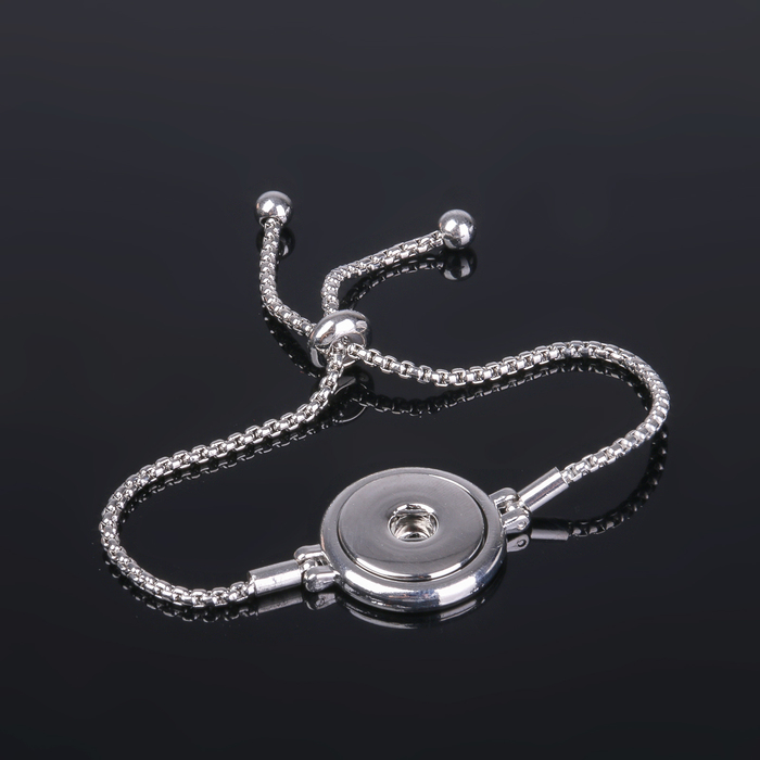 "Основа для браслета ""Круг"" на одну кнопку, цепочка, цвет серебро"