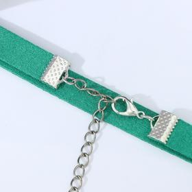 """Чокер """"Амели"""" с блёстками, цвет зелёный в серебре, L=30 см"""