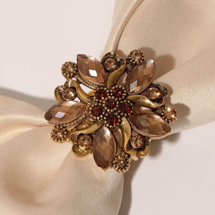 """Кольцо для платка """"Цветок"""" с острыми лепестками, цвет золотой в чернёном золоте"""