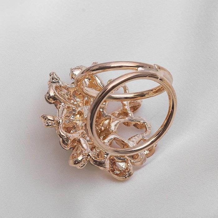 """Кольцо для платка """"Цветок"""" с жемчужной сердцевиной, цвет белый в золоте - фото 448777558"""