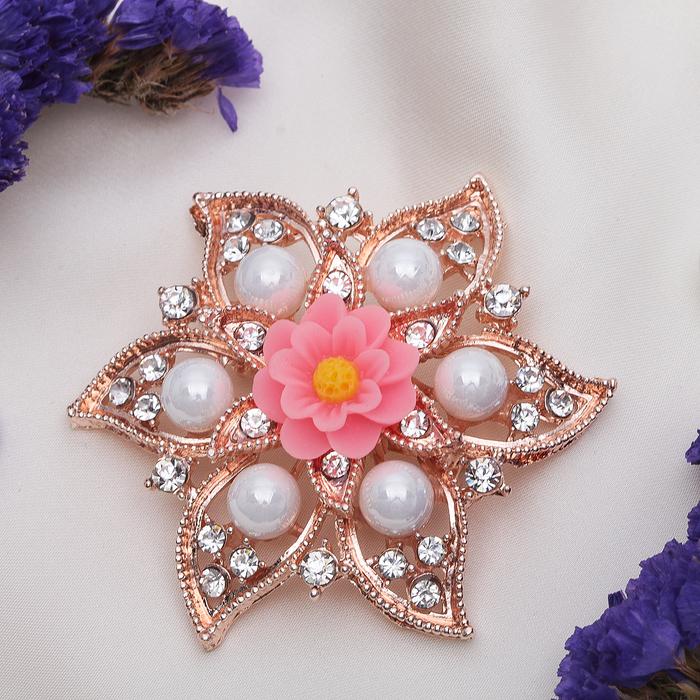 """Брошь """"Цветок лотоса"""", цвет бело-розовый в золоте - фото 240528745"""