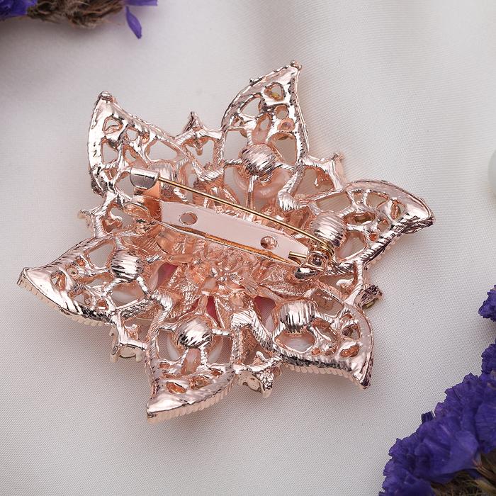 """Брошь """"Цветок лотоса"""", цвет бело-розовый в золоте - фото 240528746"""