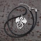 """Кулон мужской """"Дракон"""", цвет чернёное серебро, 40см"""