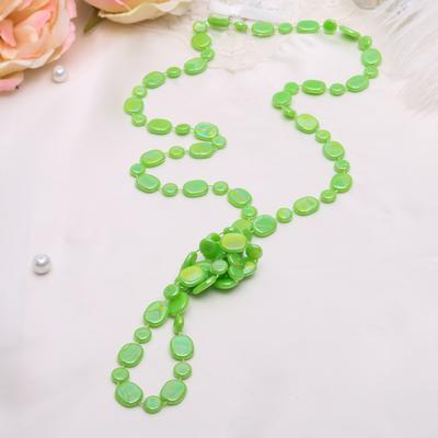"""Бусы """"Россыпь"""" плоские овалы, цвет радужно-зелёный, 120см"""