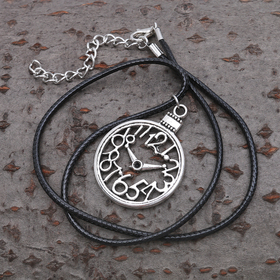 "Pendant on a string ""Clock"", color black silver, 40cm"