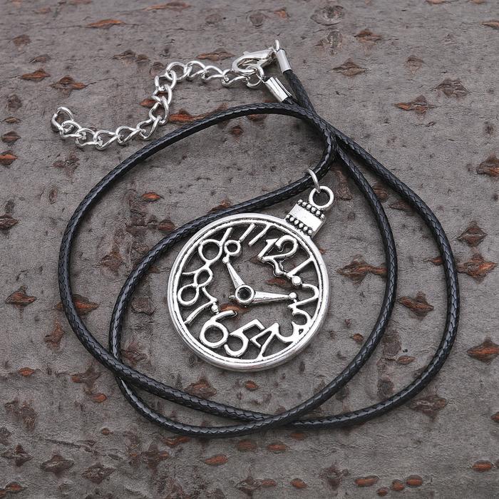 "Кулон на шнурке ""Часы"", цвет чернёное серебро, 40см"
