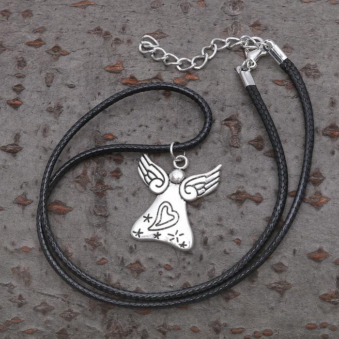"Кулон на шнурке ""Ангел"", цвет чернёное серебро, 40см"